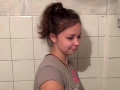 Adorable European amateur cutie gets nailed in the public toilet