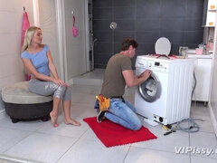 Piss And Nail Play With Washing Machine