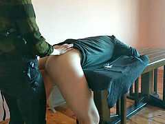 first-timer girl hard Pegging his ass on the Table - Hot femdom belt dick