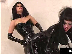 spandex Fetish? RubberDoll & K-La Get Pleasured In insane black