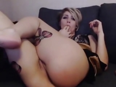 short hair blonde large tush needs toy sex