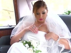 Chauffeur takes a bite from the busty bride