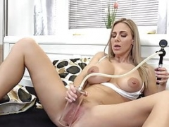 Big-breasted Blonde with Blue Dildo
