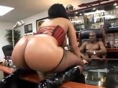 Large Assed Black Chick Pounded in Corset & Boots