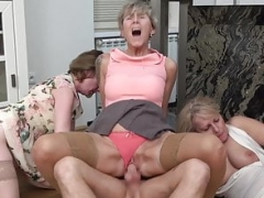 Lascivious grandmas group-fuck big dicked young jock