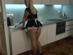 Hot blonde maid is getting cumshot on her large tits here