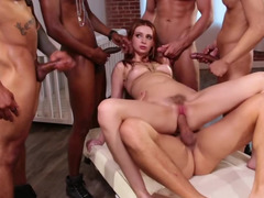 Submissive young girl is ready to practice gangbang for freedom
