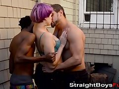 Two amateur guys with big dicks pounding neon haired chick
