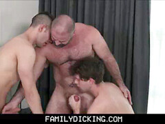 2 twunk Step Son's Have Threesome With Bear Step Dad In Mom And Dad's couch