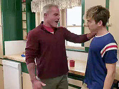Old horny step-father entice teen step son-in-law in the kitchen