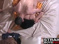 Busty amateur rammed after sucking two dicks in threesome