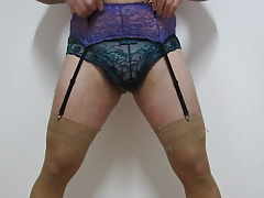 Mixing thong,panties,nylons and garter