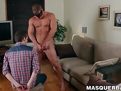 Alpha male Brad shows off his massive cock during jerk off