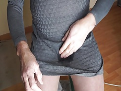 grey dress , pantyhose and whaite pantie piss