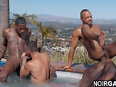 Interracial gay foursome sex by the pool