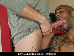LatinLeche - Latino stud crams two cocks in his mouth