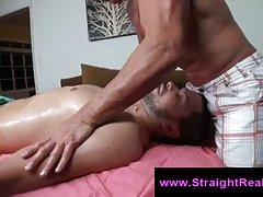 Gay masseur uses fleshlight to seduce straight man