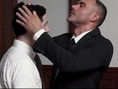 Humiliation and spanking gay boy by a priest