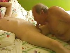 Two gay old mature grandpa playing in the bed