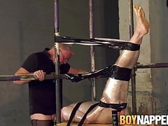 BDSM twink Avery Munroe blindfolded and throatfucked hard