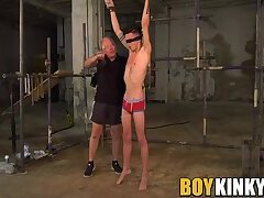 Bound and blindfolded twink slave whipped by mature master
