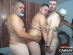 Mature foursome sucking each other's fat cocks