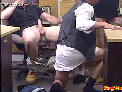 three-way pawnshop groom gets jizm in facehole POV