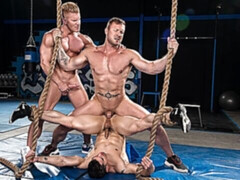 Three-way gym-based anal with Johnny V, Austin Wolf, and Jeremy Spreadums