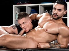 Oily fucking with dark-haired hotties Rex Cameron and Arad Winwin