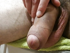 Wet cock leaking precum