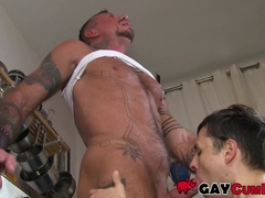 Petite young gay plastered with cum after sucking hunk off