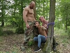 guy hard barefucked by 2 soldiers