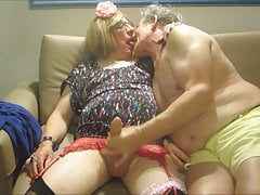 Miss Jennifer's wanking & kissing settee fun Part 1