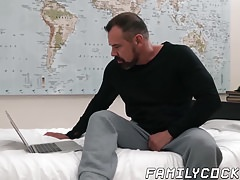 Handsome stepson pounded by bear stepdad and his fat cock