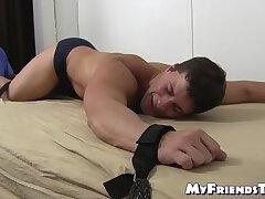 Foot tickling torment with bound amateur hunk Aldo