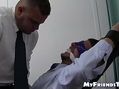 Blindfolded and tied up gentleman gets a feet tickling
