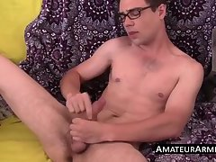 Self sucking twink blows his long cock and lick his armpits