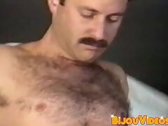 Stud vintage male strokes hairy big cock before cumming solo