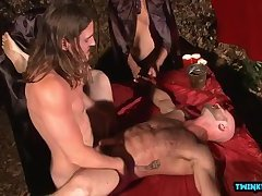 Hot son bound and cumshot