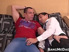 School boy fukced by mature hunk after giving blowjob