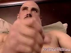 Bald stud gets a helping hand from a mature gay pervert