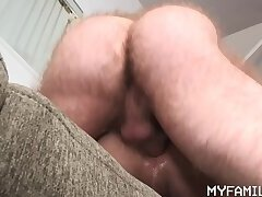 Son Curls Up On The Couch To Let His Stepdad Penetrate His Aching Hole