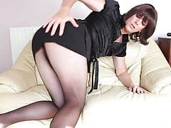 Sexy crossdresser teasing in nylons