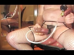 shemale tranny pumping cock pantyhose nylon fetish pump