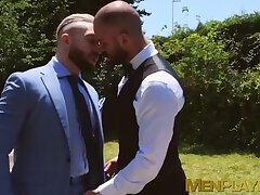 Bearded hunk Bruno Max gets kinky rimming from businessman