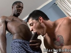 Gay hunk gets mouth and ass pounded