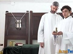 Taboo twink riding catholic cock