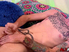 Amateur ginger punk lubes up for tent sausage masturbating