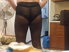 Gay butt in pantyhose