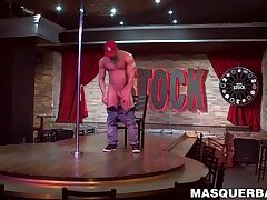 Muscular hunky stripper strokes his cock for mature viewer